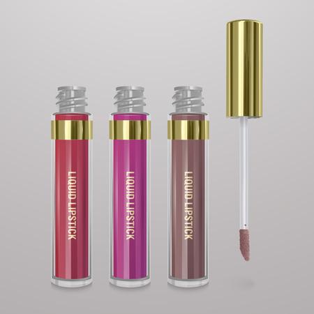 Set of realistic, liquid lipstick. 3d illustration, trendy cosmetic design for advertisement