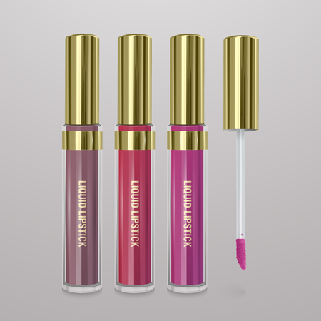 Set of realistic, liquid lipstick. 3d illustration, trendy cosmetic design for advertisement 矢量图像