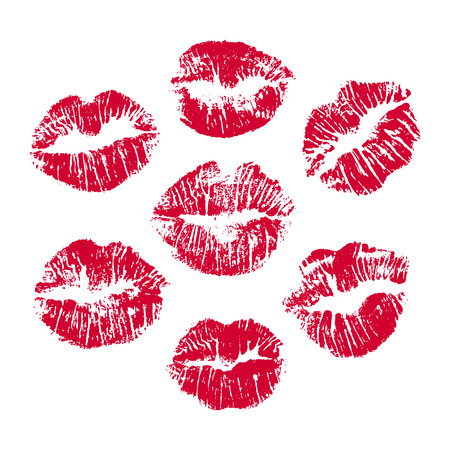 Set of red lip prints on white background, Red lips imprint for your design. Vector