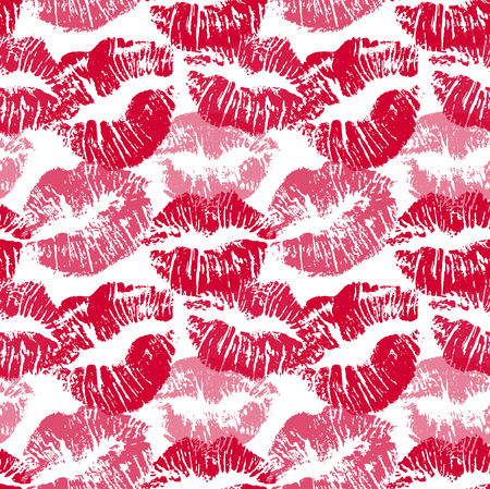 Seamless pattern with lipstick kisses. Lips imprints of red and pink shades isolated on a white background. Endless ornament your print, wrapping or romantic greeting card design