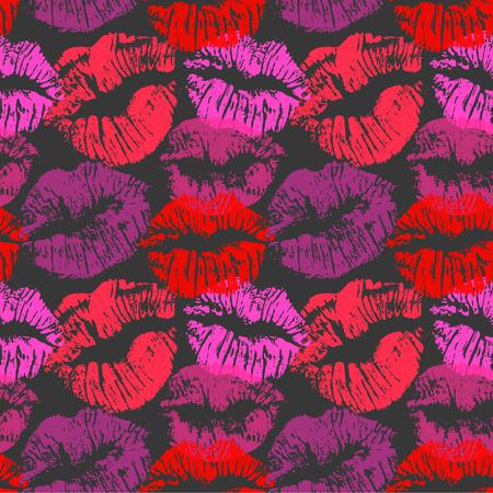 Modello senza cuciture con baci di rossetto. Impronte di labbra colorate di sfumature rosse viola e rosa isolate su uno sfondo nero. Ornamento infinito per la tua stampa