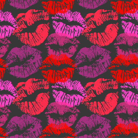 Seamless pattern with lipstick kisses. Colorful lips imprints of red purple and pink shades isolated on a black background. Endless ornament for your print