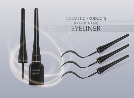 Liquid eyeliner set, eyeliner product mockup for cosmetic use in 3d illustration, isolated on light background. Vector illustration