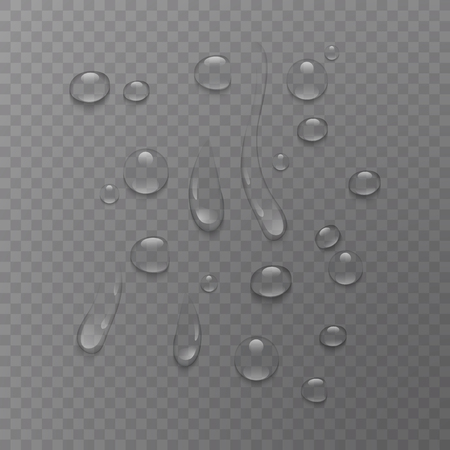 Pure clear water drops realistic set isolated on transparent background, vector illustration 矢量图像