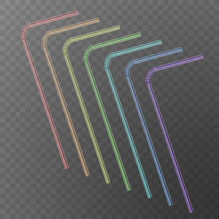 Straw for beverage. Drinking straws of rainbow colors isolated on a transparent background.