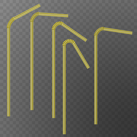 Straw for beverage. Drinking straws of yellow color, isolated on transparent background. Vector illustration