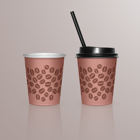 Set of Coffee Cup - Mockup template for Cafe, Restaurant brand identity design. Brown cardboard Coffee Cup Mockup. Disposable plastic and paper tableware template for Hot Drinks, vector.