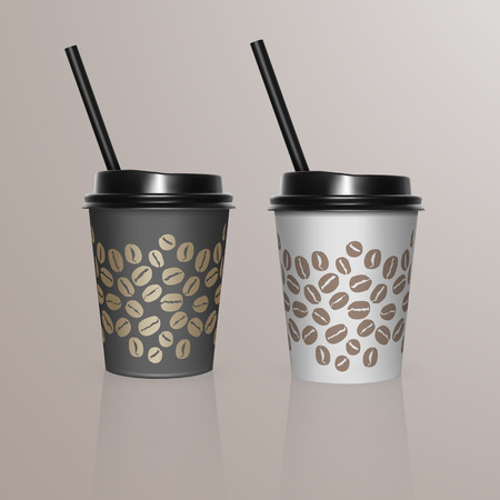 Set of Coffee Cup - Mockup template for Cafe, Restaurant brand identity design. Black and white cardboard Coffee Cups Mockup. Disposable plastic and paper tableware template for Hot Drinks