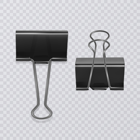 Set of realistic document clips isolated on white background Illustration