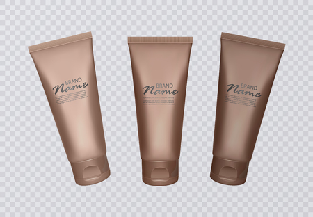 Vector Illustration with self tanning concentrate bottles. Various shades of sunburn, bronze skin