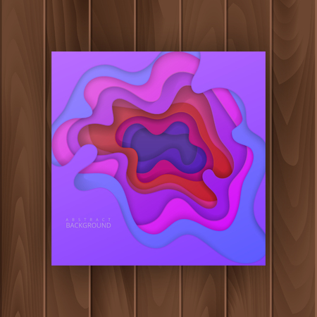 Abstract, colorful realistic paper cut design with wavy layers, Paper cut background. Cover for your design. Vector illustration