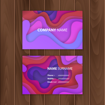 Business card template with colorful, abstract paper cut design, vector illustration