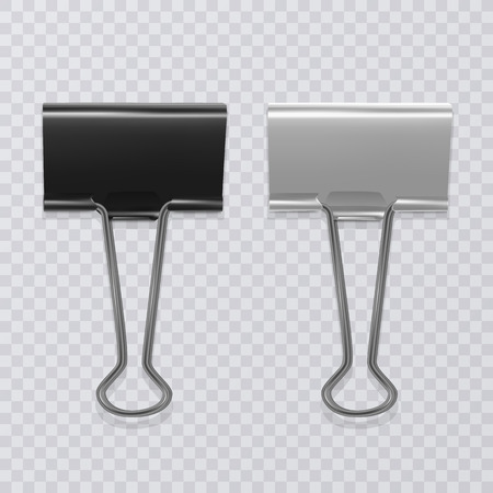 Set of realistic, black and white document clips isolated on transparent background