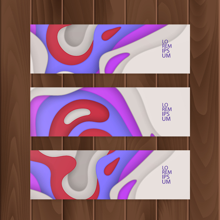 Set of Voucher, Gift certificate. design with colorful, abstract paper cut background, vector illustration Ilustração