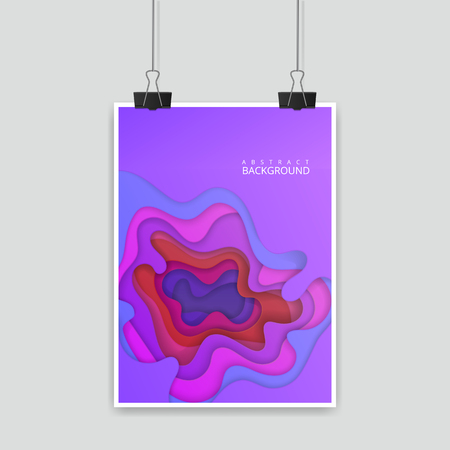 Colorful poster, size of a4, decoration with paper cut design. Vector illustration