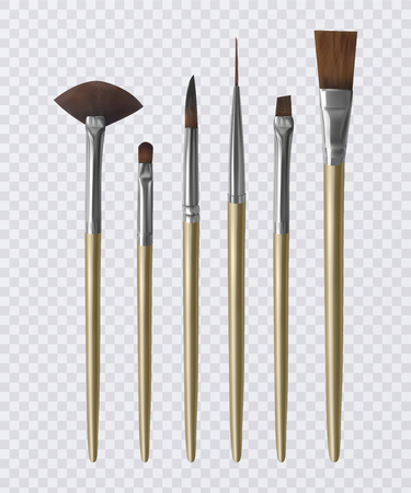 Set of realistic brushes for painting, Paintbrushes on transparent background. Vector illustration