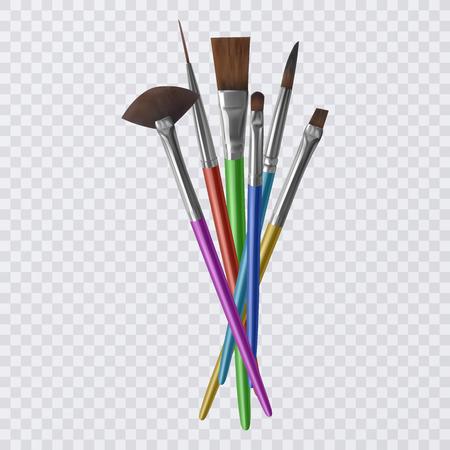 Satz realistische Pinsel zum Malen, Pinsel auf transparentem Hintergrund. Vektorillustration Vektorgrafik