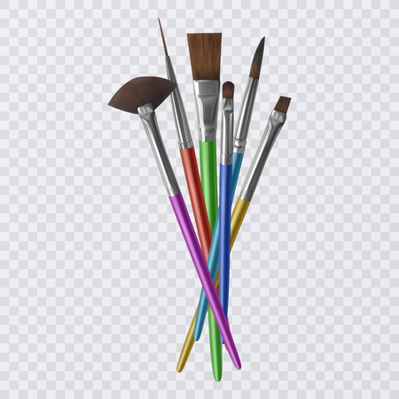 Set of realistic brushes for painting, Paintbrushes on transparent background. Vector illustration Vektorové ilustrace
