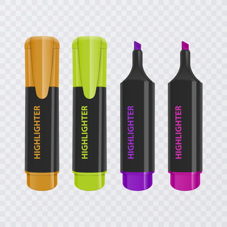 Collection of bright and colored highlighters, realistic markers on transparent background, vector illustration