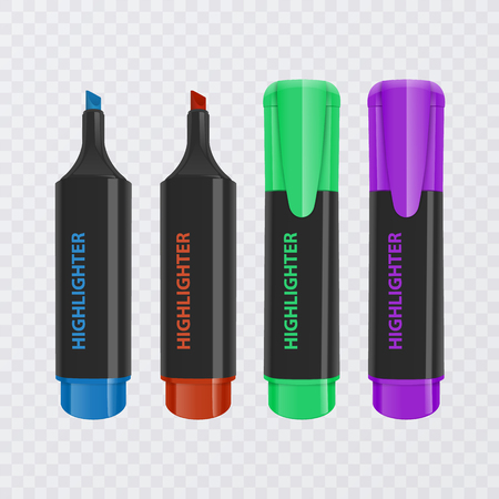 Collection of bright and colored highlighters, realistic markers on transparent background, vector illustration Illustration