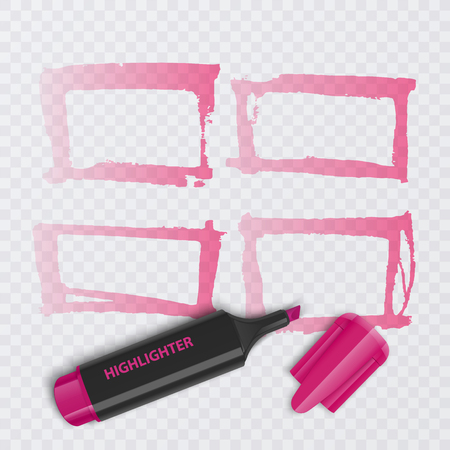 Set of colorful markers with highlighter elements isolated on transparent background. Transparent highlighters. Vector realistic style. Иллюстрация