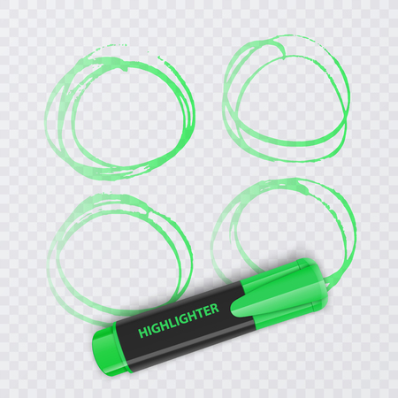 Set of colorful markers with highlighter elements isolated on transparent background. Transparent highlighters. Vector realistic style.