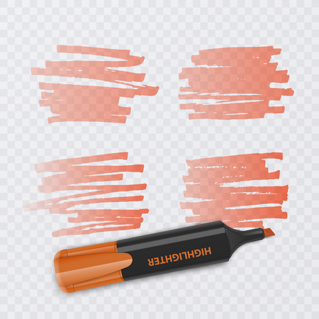 Set of colorful markers with highlighter elements isolated on transparent background. Transparent highlighters. Vector realistic style. Illusztráció