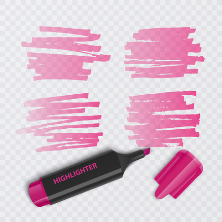 Set of colorful markers with highlighter elements isolated on transparent background. Transparent highlighters. Vector realistic style. Illustration