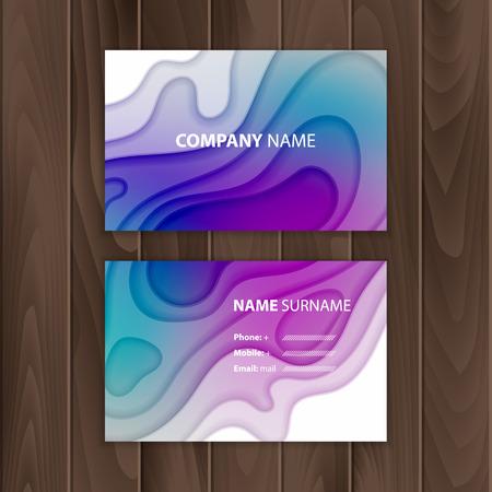 Plantilla de tarjeta de visita con diseño de corte de papel abstracto y colorido, ilustración vectorial