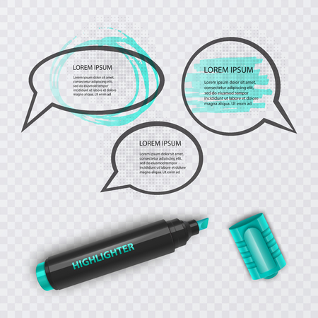 Vector illustration with realistic marker, with highlighter elements and speech bubbles on transparent background Ilustração