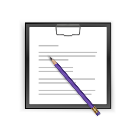 Square Black clipboard with blank white sheet and realistic pencil, vector illustration