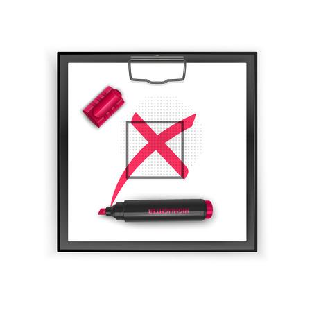 Portapapeles cuadrado negro con el icono de la marca de la cruz roja. Ilustración de vector de marca de verificación de grunge.