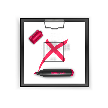 Square Black clipboard with Red cross mark icon. Grunge check mark vector illustration.