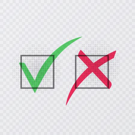 Señales de tick y cross. Marca de verificación verde OK e iconos X rojos, aislados sobre fondo transparente. Ilustración vectorial