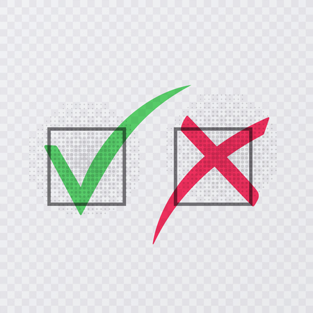 Tick and cross signs. Green checkmark OK and red X icons, isolated on transparent background. Vector illustration