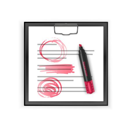 Square Black clipboard with blank white sheet and realistic red highlighter, vector illustration