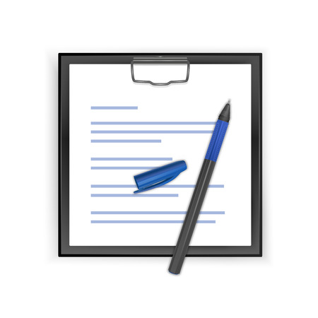 Square Black clipboard with blank white sheet and realistic pen, vector illustration Ilustração