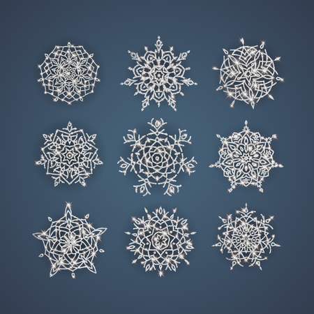 Set of vector snowflakes with glittering textures, background for winter and christmas theme. Vector illustration. Ilustração