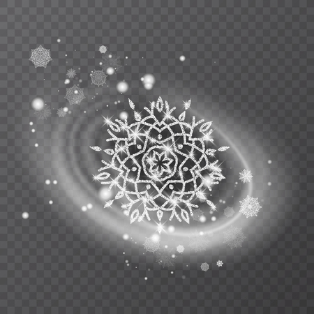 Vector snowflake with glittering texture, background for winter and christmas theme. Snow frost effect on transparent background.
