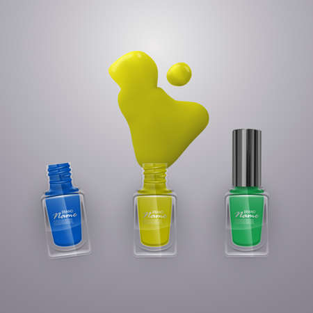 Spilled some nail Polishes on light background. Nail Polishes of bright colors, vector illustration