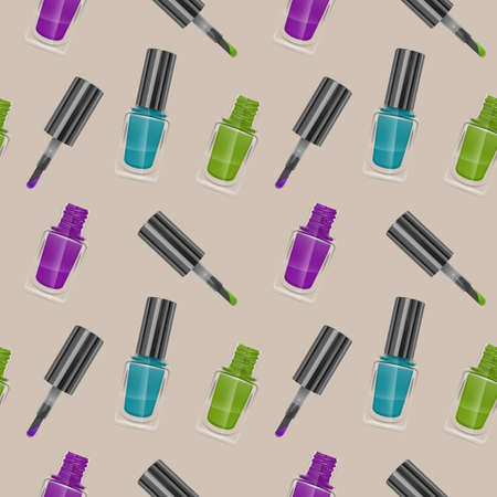 Seamless pattern with realistic nail polishes, Vector illustration, background - for your templates