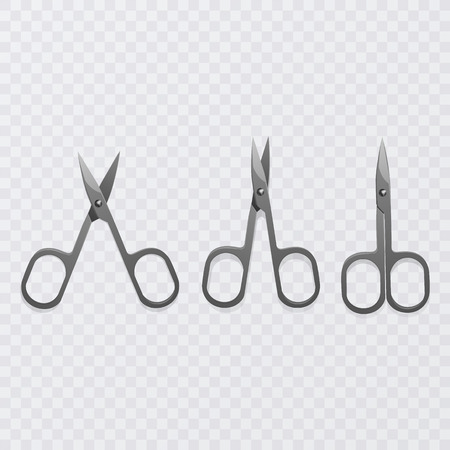 Set of manicure scissors on a transparent background, vector