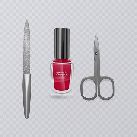 Set of manicure accessories, illustration of manicure scissors, red nail Polish and nail file, hand care, vector eps 10 illustration