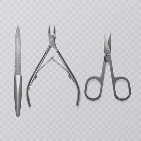 Vector illustration with manicure tools, nail file, realistic scissors and cuticle remover clippers on transparent background Ilustração