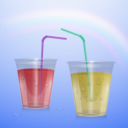 Juices mockup, smoothie cup isolated on transparent background, 3d illustration. Realistic plastic Cup with lemonade and strawberry juice