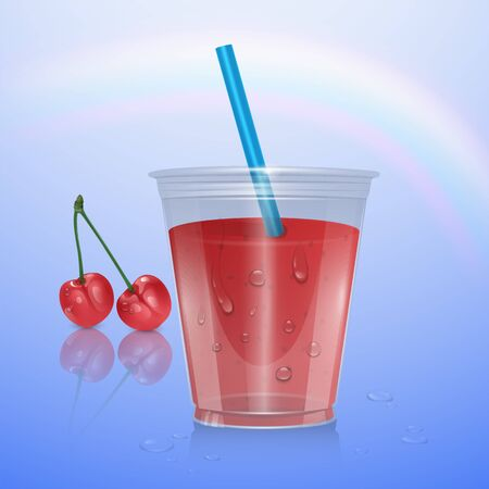 Fruit smoothies mockup, smoothie cup isolated on transparent background, 3d illustration. Realistic plastic Cup with cherry smoothie Ilustração
