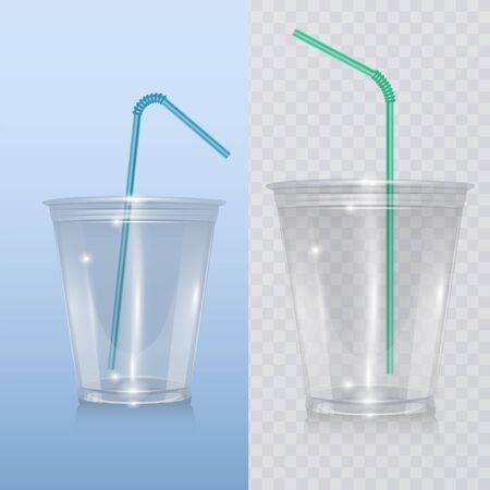 Realistic plastic cup for milkshake and lemonade and smoothie. Vector Illustration on transparent background. Ilustração