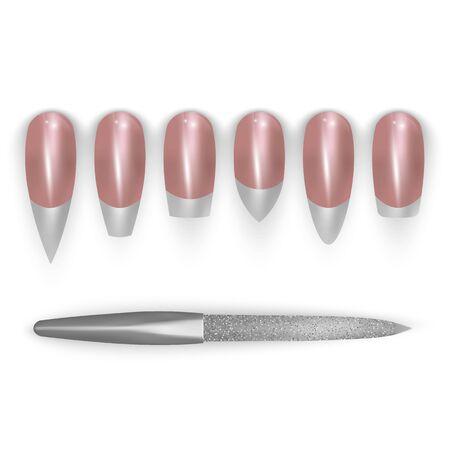 Verschiedene Formen von Nägeln, weibliche Maniküre. Realistische Ikonen von Nagelformen, Vektoreps 10 Vektorgrafik