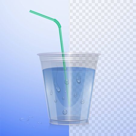 Realistic plastic cup with clean water. Vector eps 10 Illustration on transparent background. Ilustração