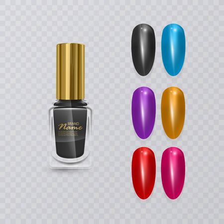 Colorful tips. Set of false nails for manicure. Varnish color palette for nail extension and realistic black polish, vector eps 10 illustration Ilustração